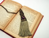 Unusual Tassel Necklace in Sage Green and Purple - Boho Statement