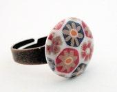 Vintage West German Lucite Cabochon Ring set on Antiqued Brass - Adjustable