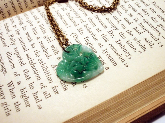 Vintage Japanese Jade Glass Heart Pendant Necklace Charm Pierced Swirled with White Floral Design