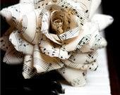 vintage sheet music rose, deluxe - paper flower for gift, wedding, or home decor