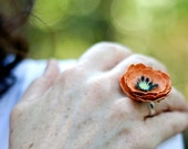 orange paper poppy ring - paper flower accessories for everyday or special event