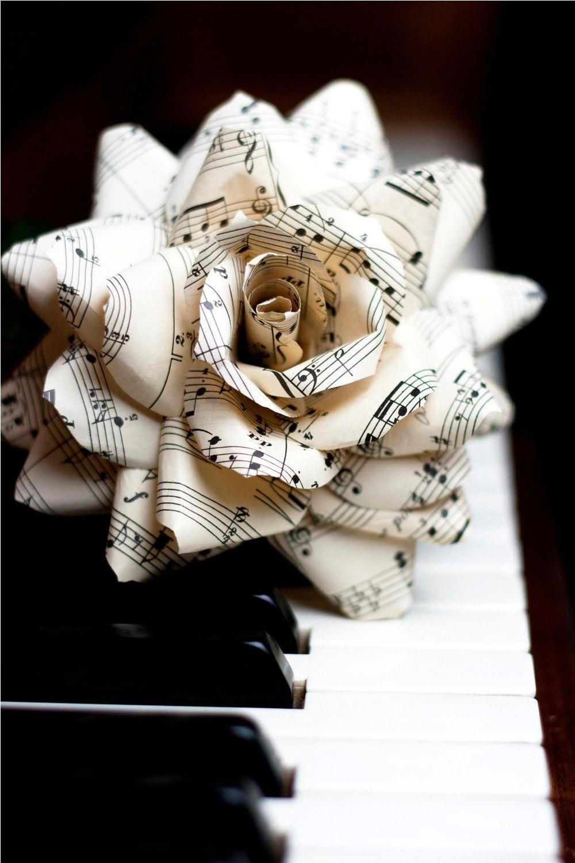 vintage sheet music rose deluxe paper flower for gift