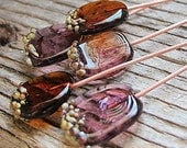 Purple and Amber Lampwork Glass Headpins fit Jewelry, Copper wire 20 gauge, Handmade Jewelry Supplies