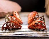 Scarlet Orange Enameled Cone Bead Caps. Lily Flower Filigree Bead Caps. Handmade jewelry findings 11mm wide. bead Cones. Filigree Caps