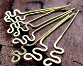 Snake Headpins. Hammered Brass Head Pins 22 gauge. Zigzag Wire headpins set. Handmade Findings. / Earring Dangles / Swirl Eye Pins Headpins
