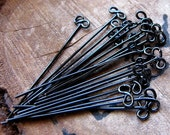 1.5 inch Black Enamel Copper Head Pins. Infinity Pins. Handmade 22 gauge Eye Pin Headpins. fancy headpins. Beading Supplies, BOW Findings