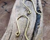 Brass EarWires Earrings. Hand Formed Ear wire for Earrings.Gold  Hook Ear Wires 20 gauge. Artisan Ear Wires. Unique Ear wires / Handmade