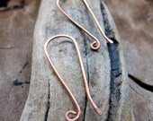 Long Copper Ear wires - Ovals French Style Earwires Earrings supplies 20 gauge - Long Ear Wires. Artisan earrings supplies. Copper Findings