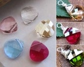 Teardrop Briolette Pendant. Emerald Swarovski Pendant Sterling Wire Wrapped Briolette Dangle Charm for Bracelets, Pendants, Necklaces