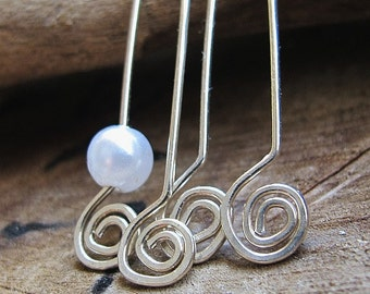 Sterling Silver Hammered Spiral Headpins 20 gauge, Swirl Sterling Eye Pins Set / Length 1.5 inch End Bars Hand Crafted Jewelry Supplies