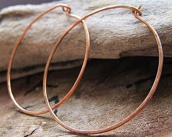 Large Shape Copper Hoop Earrings / Handmade and Hammered Earwire Hoops / 20 gauge 1.5 or 2 inch / Medium Hoops / Flat Copper Hoops Earrings