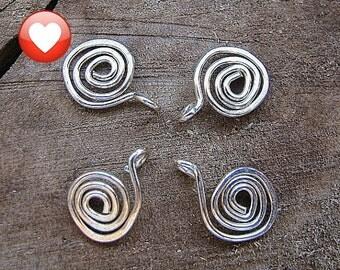 Sterling Silver Swirl Dangles Charms.  Spiral Dangle for Necklace, Earrings. Set 4 pcs / Swirl Dangles / Drop Spirals / Handmade Findings