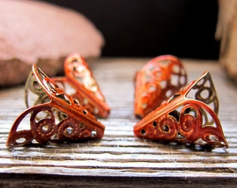 Scarlet Orange Enameled Cone Bead Caps. Lily Flower Filigree Bead Caps. Handmade jewelry findings 11mm wide. bead Cones. Filigree Caps
