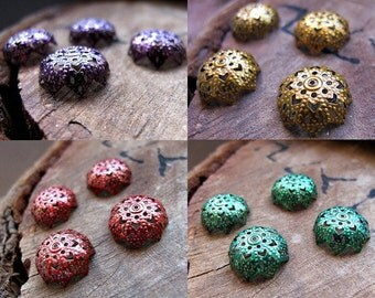 Assorted Bead Caps. 15mm Flower Filigree Bead Caps Set. Enameled red, purple, gold, green caps. Handmade Jewelry Supplies , Fancy Caps