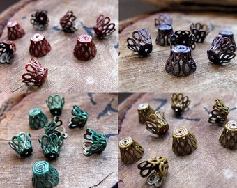 Assorted Flower Bead Caps. Green, Red, Gold, Purple Filigree Bead Caps. Antique Brass Enameled Jewelry Findings / Small Caps / Colored caps