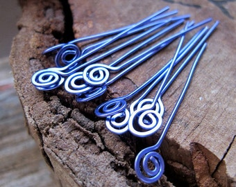 22 gauge Spirla Hammered Headpins. Purple Swirl Head Pins. Enameled Copper Jewelry Findings - Artisan Eay Pins - Handmade Findings