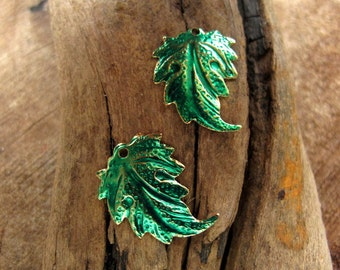 Green Leaves Findings. Enamel Golden leaf charms with hole for earrings, necklaces, bracelets / Earrings Dangles. Leaf dangles for Earrings
