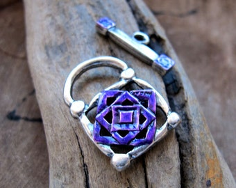 Lock Toggle Clasp - Artisan Silver Plated Clasp for Necklace -Silver Lock Clasp. necklace clasps.  Handmade Bracelet Clasp. colorful clasps