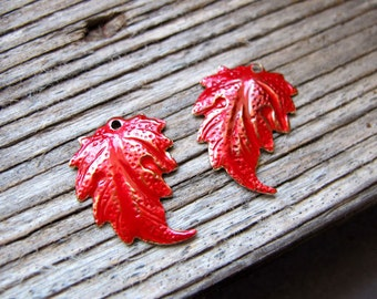 2 Leaf Charm for Earrings - Red Enameled Dangling Leaves - Brass Leaf Pendants