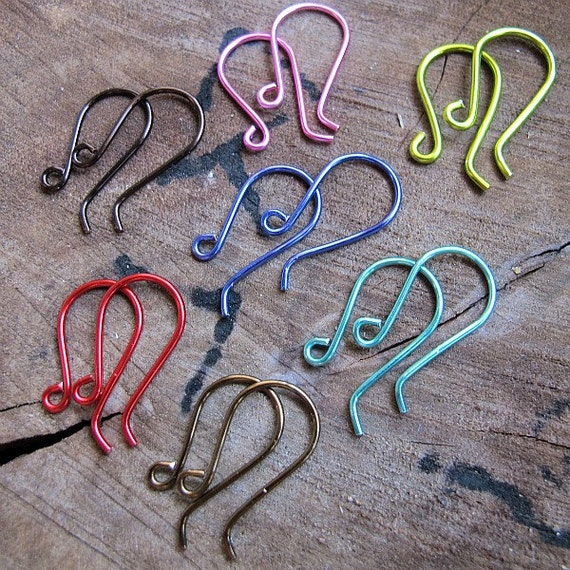Colored Enamel Copper Earwires Hooks- hot pink, smokey quartz, vintage bronze, lavender, red, turquoise, yellow green. Artisan Earrings