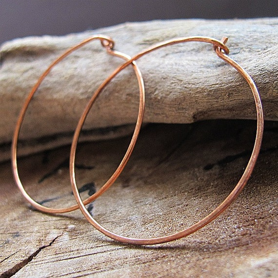Large Shape Copper Hoop Earrings / Handmade and Hammered Earwire Hoops / 20 gauge 1.5 or 2 inch / Medium Hoops / Flat Copper Hoops Earrings