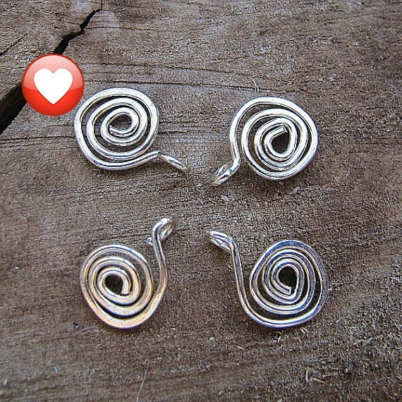 Sterling Silver Swirl Dangles Charms.  Spiral Dangle for Necklace, Earrings. Set 4 pcs / Swirl Dangles / Drop Spirals / Handmade Findings