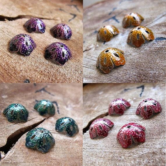 Handmade Enameled Filigree Bead Caps -Yellow,Green ,Red, Purple caps for beads-Flowers Shape caps findings sets / Artisan Bead Caps