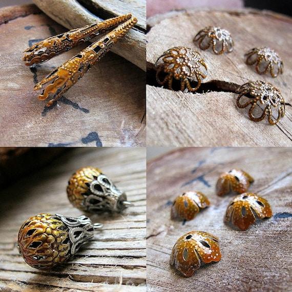 Yellow Jewelry Filigree Findings set. Enamel Bead Caps, Hollow Beads, Long Caps, Flower Caps