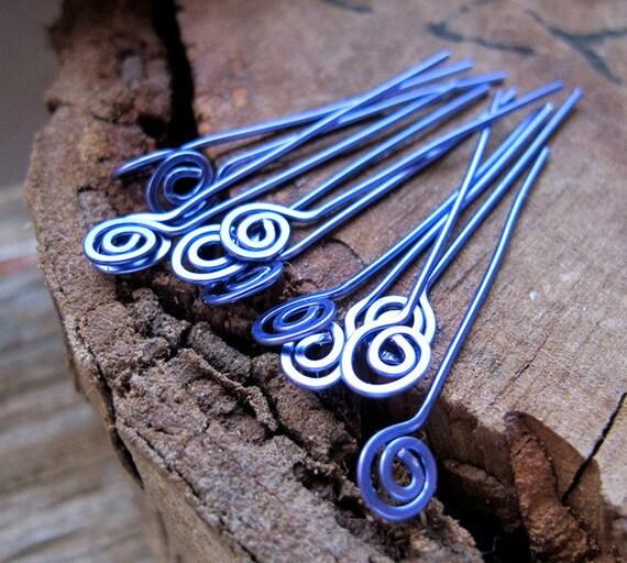 22 gauge Spirla Hammered Headpins. Purple Swirl Head Pins. Enameled Copper Jewelry Findings - Artisan Eay Pins - Handmade Findings