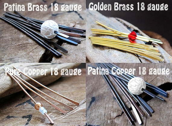 18 gauge Paddle Pins - Headpins 2 inch - Patina Brass, Solid Copper, Golden, Patina Copper Sticks, dangles, bead pins, earrings supplies