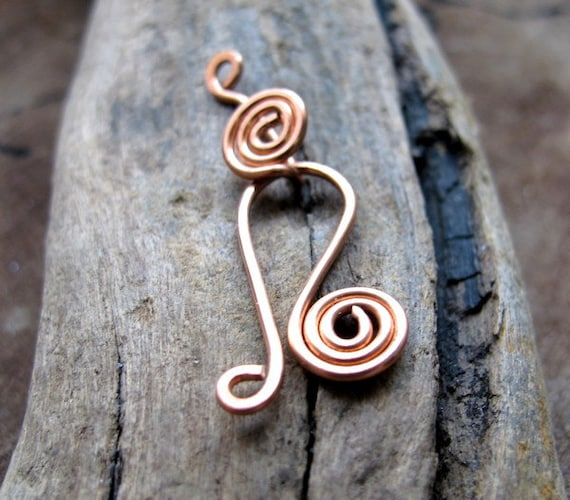 Handmade Spiral Hook Clasp. Hand Forged Copper Closure for Necklaces, Bracelets - Findings - Spiral Clasp - Artisan Clasps - Copper Clasp