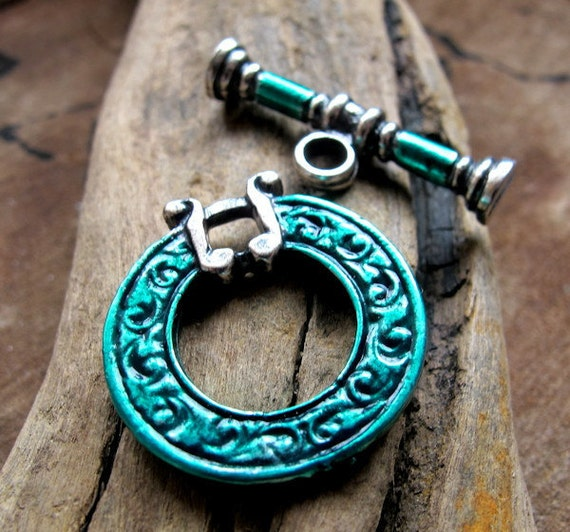 Antique Silver Toggle Clasp. Large Enameled Turquoise Findings for Necklaces, Bracelets / Artisan Clasp / Necklace clasp / Toggle Clasp
