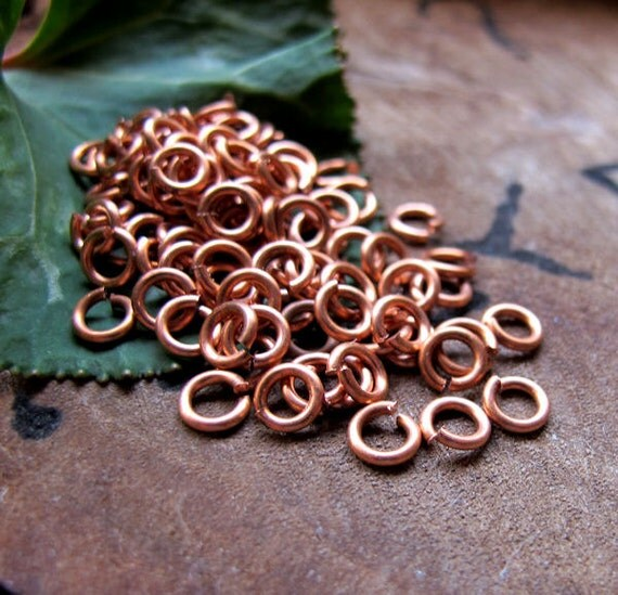 50 Copper Jump Rings 5mm - Handmade 18 gauge Open O-Ring Links Connectors - Jewelry Findings Supplies