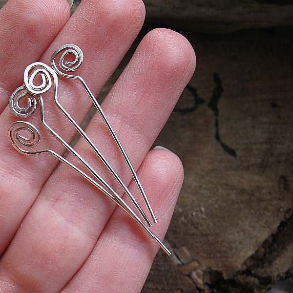 Sterling Silver Hammered Spiral Headpins 20 Gauge By