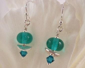 Teal earrings, lampwork earrings, sterling silver earrings. uk