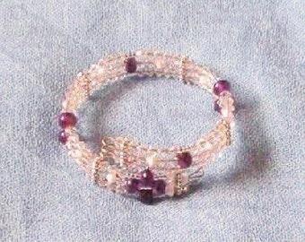 Handmade Amethyst and Swarovski crystal bangle bracelet, cuff bracelet