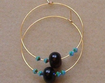 Black Onyx Gold Color Hoop Earrings with Turquoise AB2X Swarovski Crystal Bicones