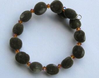Hawaiian mgambo seed and topaz 2AB Swarovski crystal bracelet - handmade in Hilo - HiloBeads