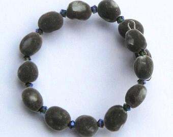 Hawaiian mgambo seed bracelet with tourmaline 2AB or AB2X Swarovski crystals, handmade in Hilo, Hawaii