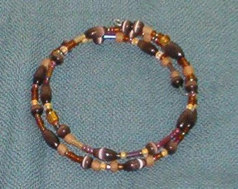Wrap bracelet, brown and yellow seed beads, brown cats-eye beads, handmade in Hilo Hawaii, one size fits most, bangle, beaded