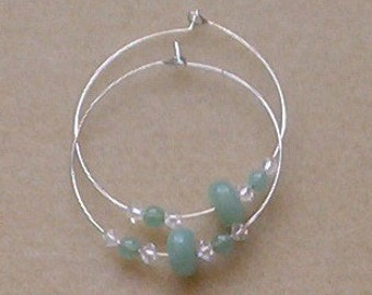 Aventurine hoop earrings with Swarovski crystals, handmade in Hilo, Hawaii