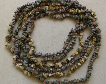 Unakite, leopard skin jasper and picture jasper gemstone chip strands - or ready made necklaces - 32 inches each