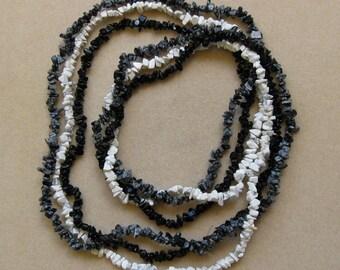 Gemstone chip strands - blackstone, snowflake obsidian, white howlite, 32in strands - or necklaces
