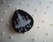 UNIQUE necklace pendant teardrop shape black with white chandelier