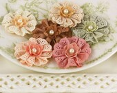Prima Manette Flowers - Antique - Fabric Floral Embellishments with eyelet lace and pearls Item 557263