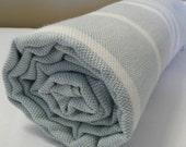 Bath Towel...PESHTEMAL(102) Baby Blue-White
