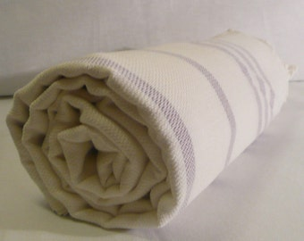 Turkish Bath Towel...PESHTEMAL(108) WHITE-PURPLE