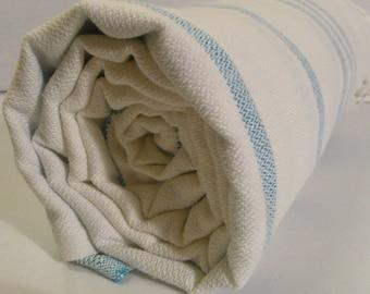 Turkish Bath Towel...PESHTEMAL(103) WHITE-TURQUOISE