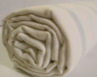 Turkish Bath Towel... White-Baby Blue