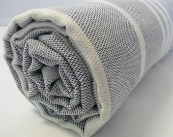 Turkish Bath Towel...PESHTEMAL(101) Dark Blue-White